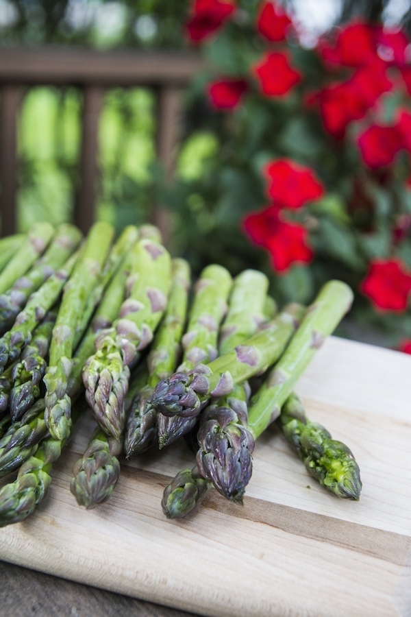 Asparagus on a wooden cutting board, outside with red flowers in the background