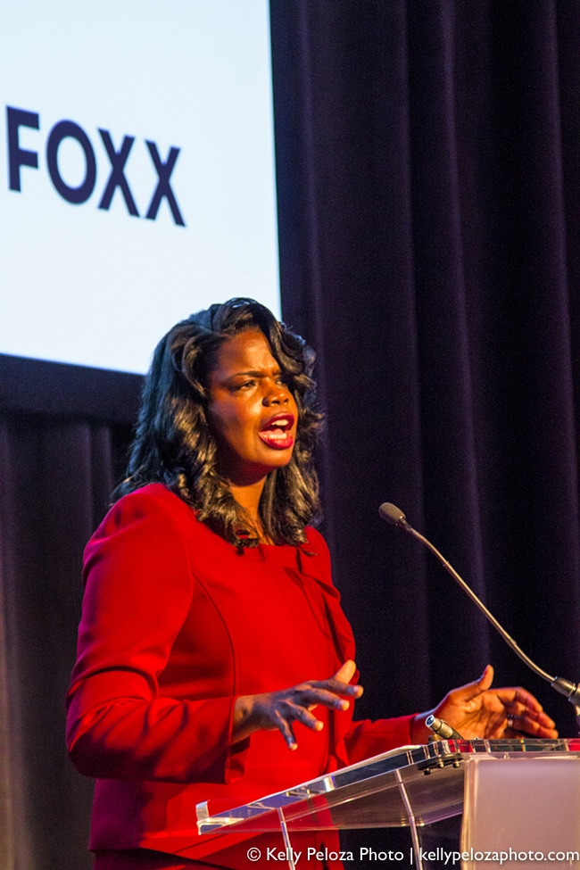 Cook County State's Attorney Kim Foxx speaking at the 2016 Streetwise Gala at the Museum of Broadcast Communications
